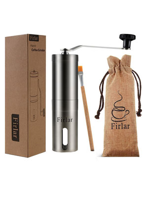 Firlar-Premium-Manual-Coffee-Grinder-Adjustable-Coffee-Grinder-Burr,-Stainless-Steel-Burr-Mill-Grinder-with-Brush