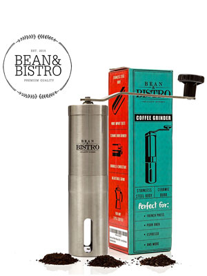 The-Original-Manual-Coffee-Grinder-by-Bean-&-Bistro---Adjustable-Ceramic-Burr,-Stainless-Steel-Body,-Portable