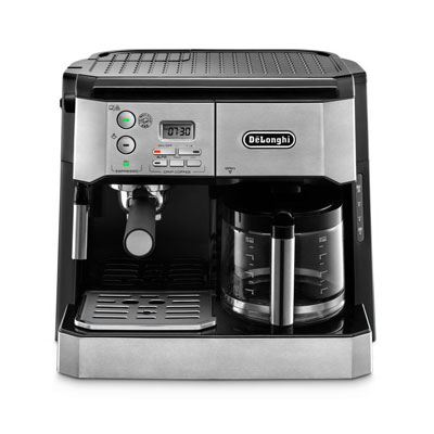 DeLonghi-BCO430-Combination-Pump-Espresso-and-10-cup-Drip-Coffee-Machine-with-Frothing-Wand,-Silver-and-Black